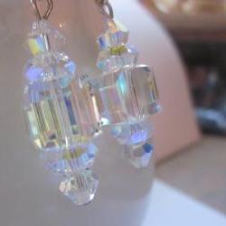 Swarovski Crystal Bridal Earrings- 12mm cubes, wedding jewelry, bridesmaid jewelry