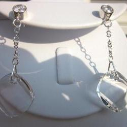 "Swarovski Crystal Earrings- ""Metro"" dangles on a chain"